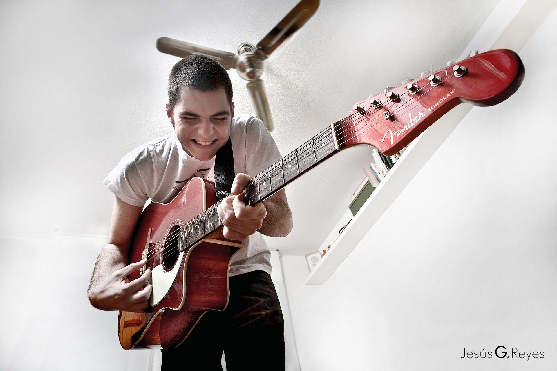 Sesión fotográfica guitarrista